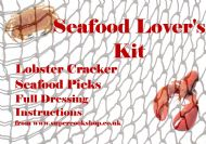 Four SEAFOOD PICKS & Lobster Crab Claw CRACKER with Illustrated Preparation Instructions